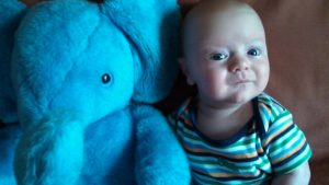Sydnor Roy shares a picture of her son Oscar with his favorite stuffed animal.
