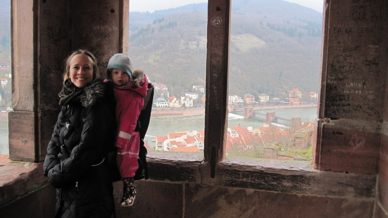 Prof. Baragwanath with her daughter visiting a German castle.