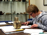 Student using the Crist Collection