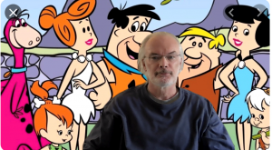 Jim O'Hara with a Zoom background of the Flintstones Characters.