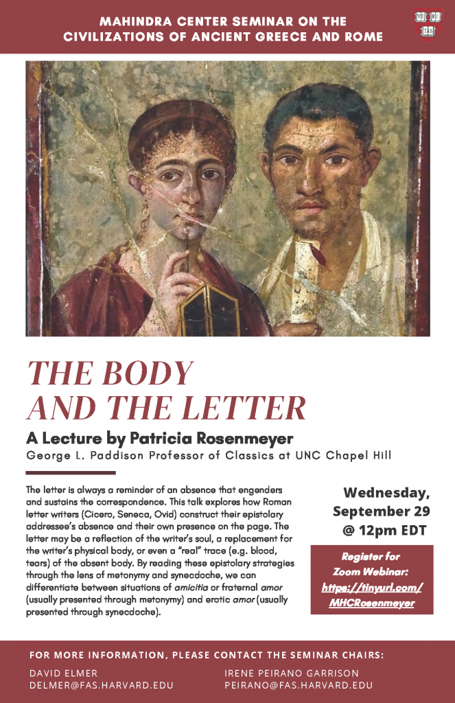 A flyer about The Body and The Letter, a lecture from Professor Rosenmeyer